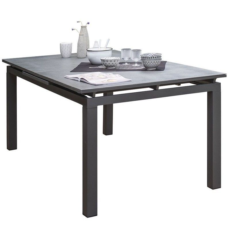 Table DCB GARDEN MIAMI-STONE alu/verre finition granit 180/240x100cm -  ANTHRACITE