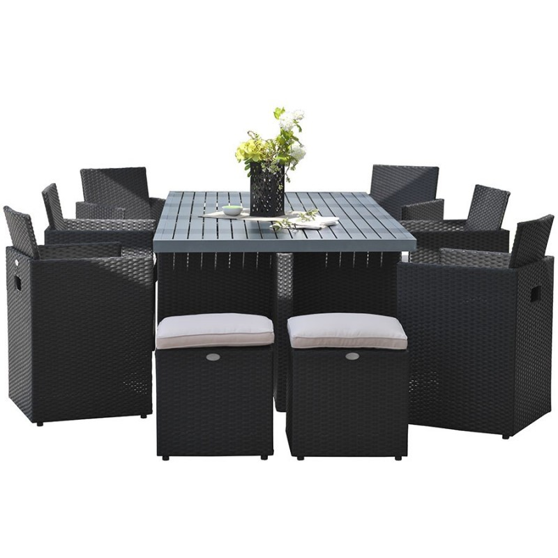 salon de jardin encastrable dcb garden 10 places noir. Black Bedroom Furniture Sets. Home Design Ideas