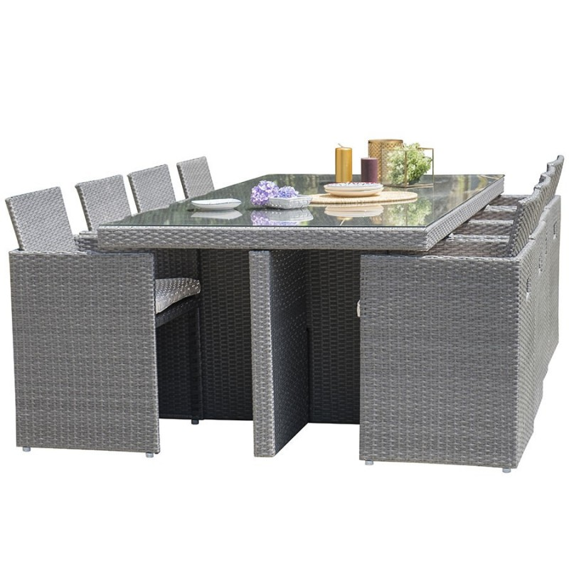 salon de jardin encastrable dcb garden 8 places avec plateau en verre gris fonce. Black Bedroom Furniture Sets. Home Design Ideas