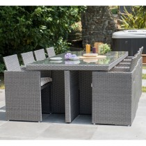 Salon de jardin encastrable DCB GARDEN 8 places avec plateau en verre -  GRIS FONCE