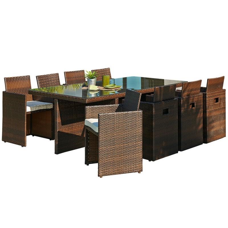 Salon de jardin encastrable DCB GARDEN 8 places avec plateau en verre -  CHOCOLAT