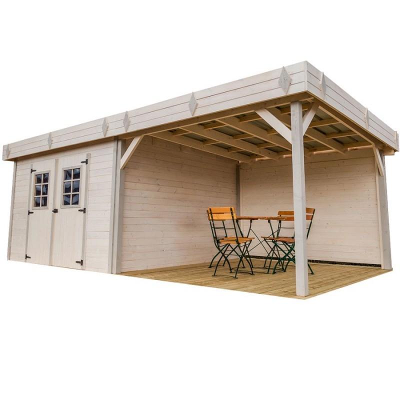 abri de jardin madriers bois massif avec terrasse couverte et toit plat acier. Black Bedroom Furniture Sets. Home Design Ideas