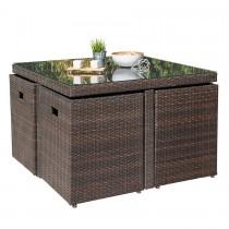 Salon de jardin encastrable DCB GARDEN 4 places avec plateau en verre -  CHOCOLAT