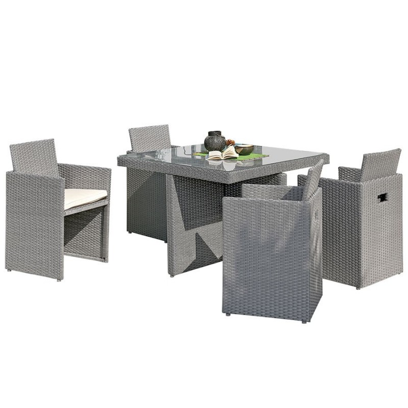 salon de jardin encastrable dcb garden 4 places avec plateau en verre gris. Black Bedroom Furniture Sets. Home Design Ideas