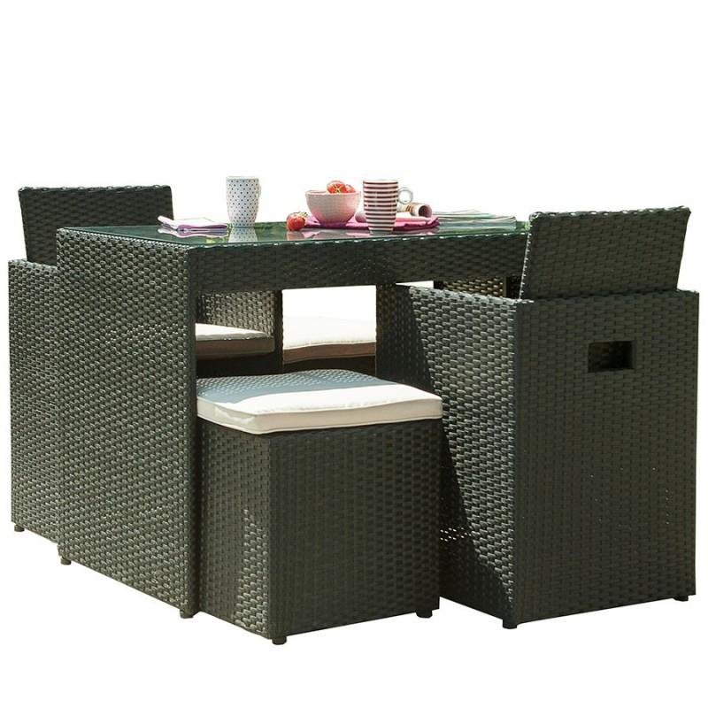 Salon de jardin encastrable DCB GARDEN 4 places avec plateau en verre - NOIR