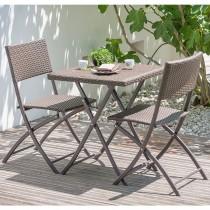 Ensemble de jardin DCB GARDEN 1 guéridon + 2 chaises - CHOCOLAT