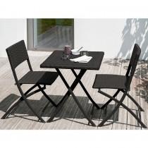 Ensemble de jardin DCB GARDEN ALICE 1 guéridon + 2 chaises - NOIR