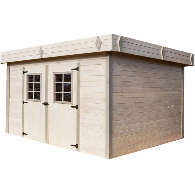abri de jardin madriers bois massif toit plat mono pente avec bac acier. Black Bedroom Furniture Sets. Home Design Ideas
