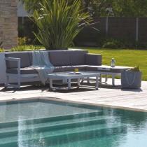 Salon de jardin angle DCB GARDEN BARCELONA 6 places en aluminium - BLANC