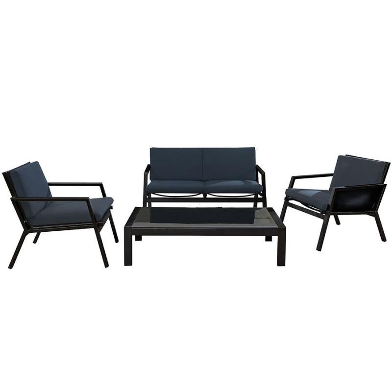 Salon de jardin DCB GARDEN MIAMI 4 places alu et textilène noir - GRIS  ANTHRACITE