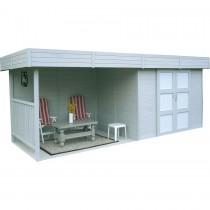 abri de jardin en bois solid arhus avec pergola. Black Bedroom Furniture Sets. Home Design Ideas