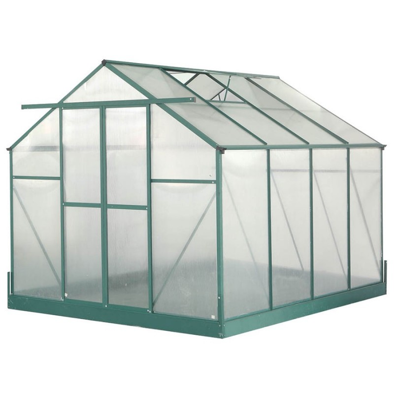 Serre de jardin structure aluminium 7.44m² avec base et double fenêtre de  toit