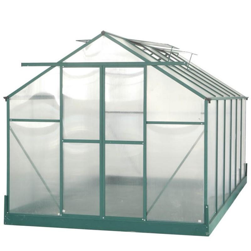 Serre de jardin structure aluminium 10.37m² avec base et 4 fenêtres ...