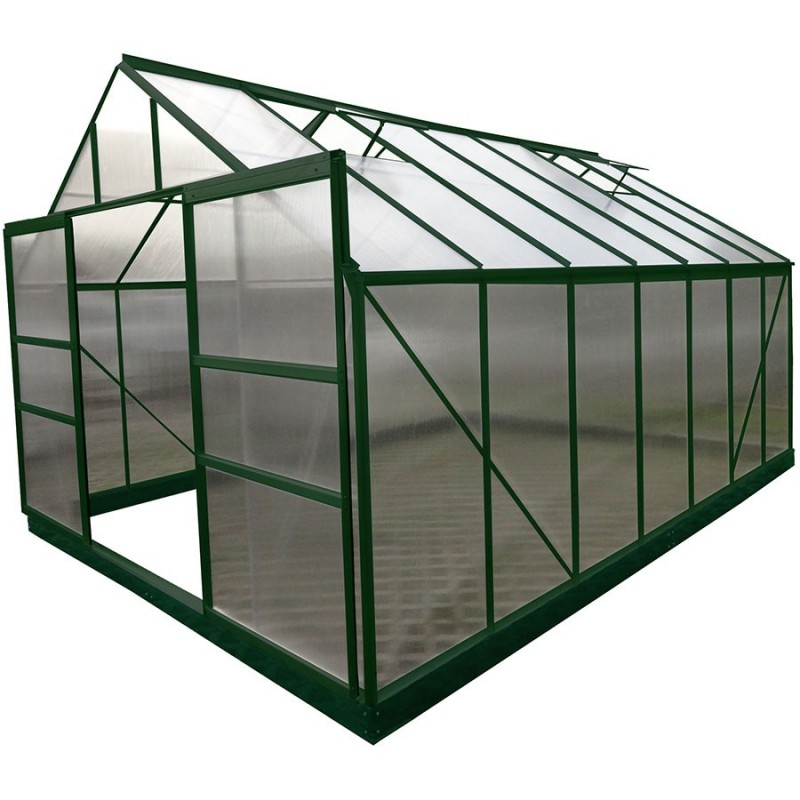 Serre de jardin structure aluminium 12.61m² avec base et 4 fenêtres de toit