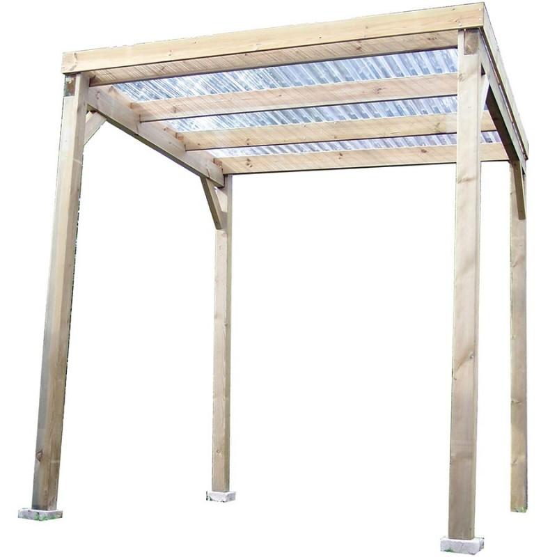Carport bois autoclavé 4m², toit plat économique avec couverture