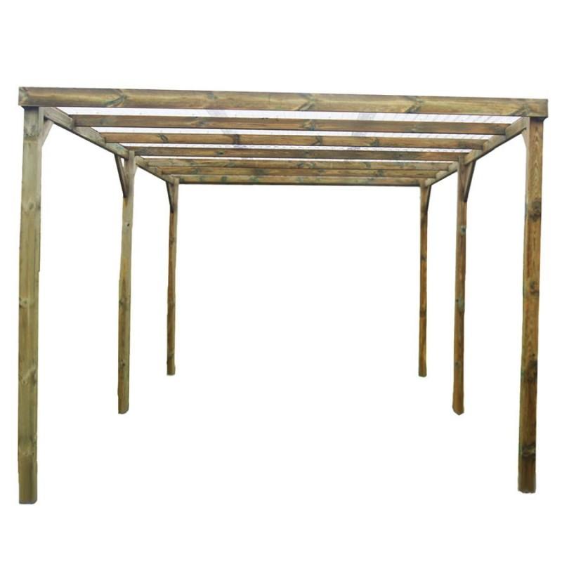 Carport bois autoclavé 15m², toit plat avec tôle PVC