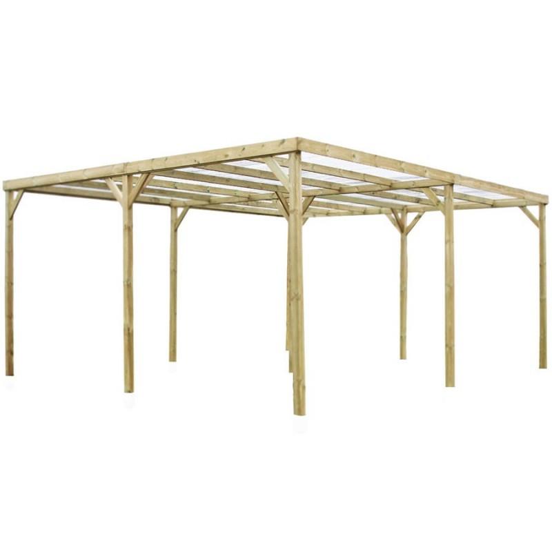 Carport bois autoclavé 2 voitures, 30m² avec toit plat et couverture ...