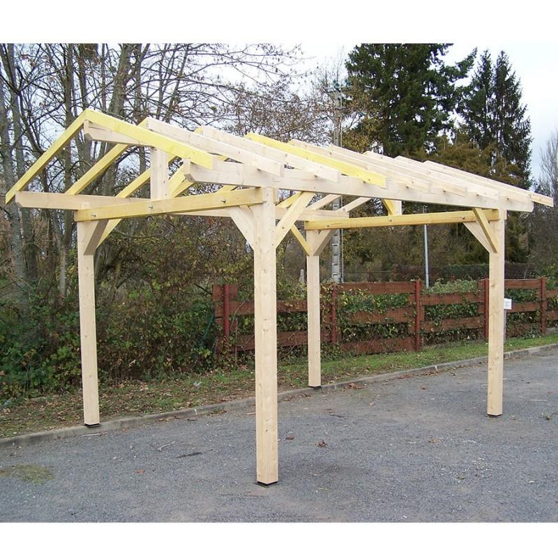 carport bois toit double pente avec pr paration pour couverture tuile. Black Bedroom Furniture Sets. Home Design Ideas