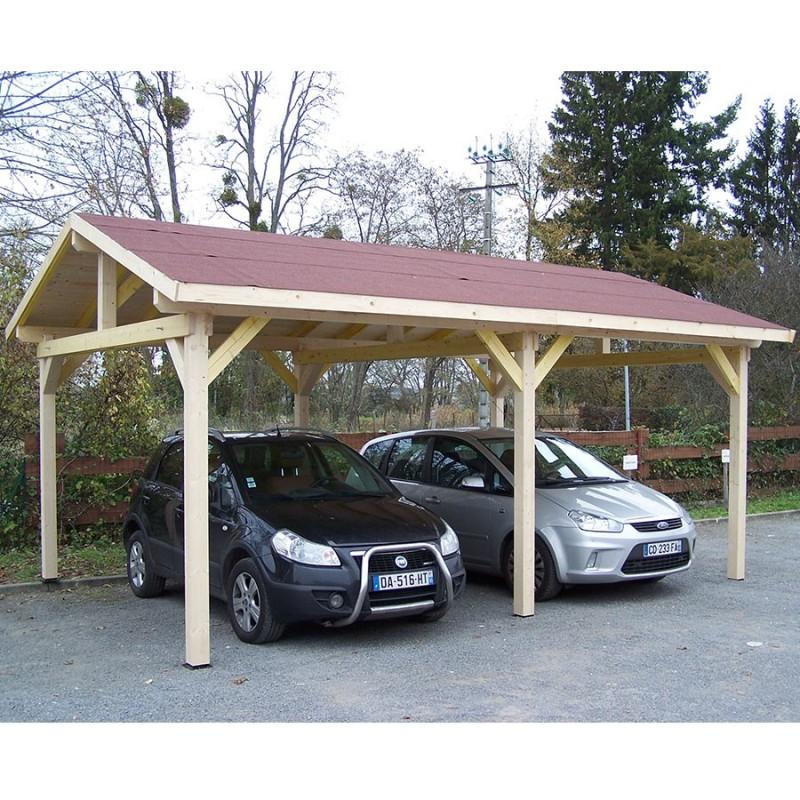 Carport Bois 22.85m² Avec Toit Double Pente Et Couverture