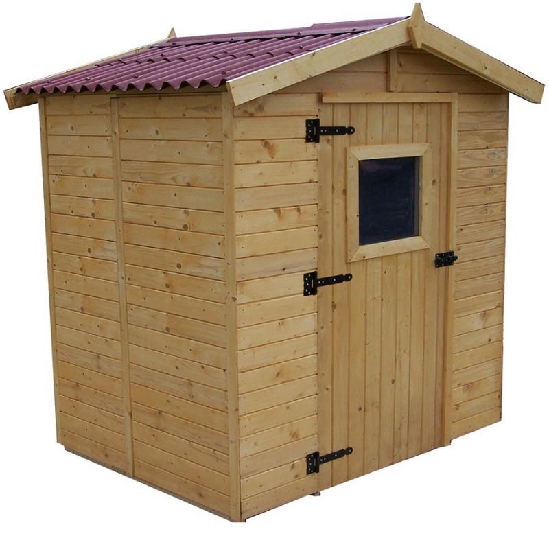 Abri de jardin avec plancher bois et toiture en for Plancher bois terrasse exterieur