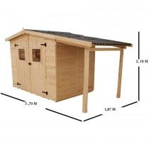 abri de jardin avec b cher et plancher bois. Black Bedroom Furniture Sets. Home Design Ideas