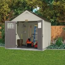 abri de jardin poly thyl ne suncast woodgrain 5 53m plancher tag res offerts. Black Bedroom Furniture Sets. Home Design Ideas
