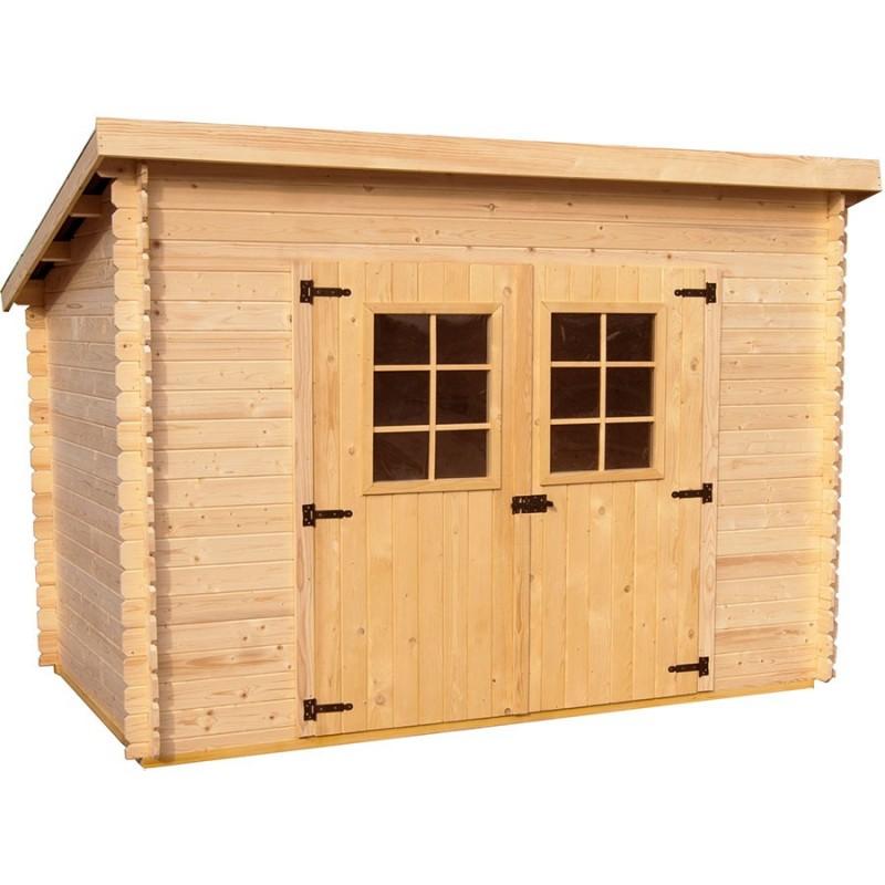Abri de jardin en madriers massifs 6.22m², toit mono pente et grande ...
