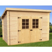 abri de jardin en madriers massifs toit mono pente et grande fa ade. Black Bedroom Furniture Sets. Home Design Ideas